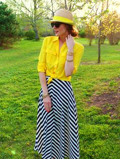 Penny Pincher Fashion ideas for stripped maxi - solid button down, bright color Maxi Skirt Outfits, Dress Skirt, Maxi Skirts, Chevron Skirt, Yellow Chevron, Yellow Top, Bright Yellow, Penny Pincher Fashion, Black And White Skirt