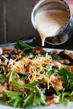 Walnut Shrimp Salad with Cheddar Jack Cheese Bacon Dressing | dineanddish.net