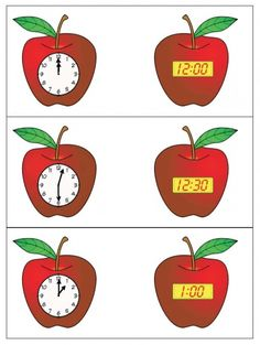 FREE apple time cards for analog and digital time. Math Clock, Time To The Hour, Apple Activities, Teaching Math, Maths, Telling Time, Mathematics, Crafts For Kids, Education