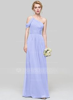 A-Line Princess One-Shoulder Floor-Length Chiffon Bridesmaid Dress With  Ruffle (007090199) c4be02ef98b3