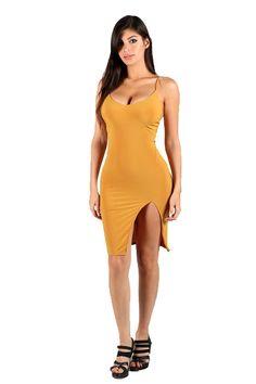 Womens Spaghetti Strap Side Open Design Solid Bodycon Dresses