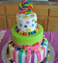 possible candyland cake for my kiddos birthday. i will modify slightly and add LOTS more candy :)