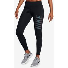 Nike Power Essential Running Leggings Style ($60) ❤ liked on Polyvore featuring activewear, activewear pants, black, nike sportswear, nike, logo sportswear, nike activewear and nike activewear pants