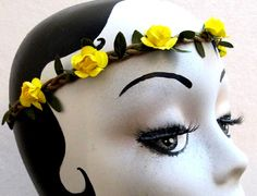 ROSE Yellow Flower Headband  Braided Leather Crown Hair Elastic Boho Hippie #HandmadewithLove #Headbands