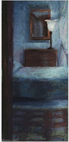 "Sandra Burshell, ""Pension in Chianti,"" 2006, pastel on green Art Spectrum paper, 24x11 in, Sold Location: Pensionne Bencista, Florence, Italy"