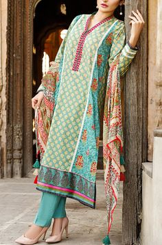 Buy Green Embroidered Cotton Lawn Dress by Khaadi Lawn Collection 2015.