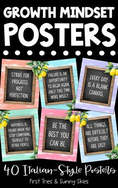Inspirational Growth Mindset Posters (40 total) - Mindfulness Posters - Farmhouse Design - Decorate your elementary classroom bulletin boards with this printable set of inspirational Growth Mindset quote posters for kids. With 40 posters in all, it is the perfect way to build a motivational themed classroom or school counseling office. Each quote is engaging and inspires a growth mindset. #inspire #growthmindset #motivational #quotes #quoteposters #elementary #classroomdecor #middleschool Cool Bulletin Boards, Classroom Bulletin Boards, Classroom Posters, Classroom Decor, School Counseling Office, Elementary Counseling, Elementary Schools, Leadership Activities, Group Activities