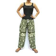 Olive and White Elephants Print Unisex Thai Harem by AsianChicShop, $15.99   harem pants, men harem pants, harem pants pattern, hippie boho pants, trouser harem pant, hippie pant harem, women harem pants, harem pant, harem pant women, yoga pants, elephant pants, aladdin pants