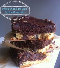 Paleo Chocolate Chip Cookie Brownie... Grain-free, gluten-free, refined sugar free.  #paleo #glutenfree