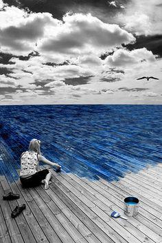 blue,,,color splash,,,