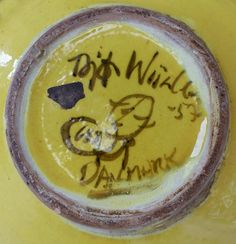 Offered for sale is an early and important example of the work of Danish artist Bjørn Wiinblad dated 1957. This tureen is whimsical with a peaked lid and applied details which allow for gripping the lid. The piece is hand painted and properly marked