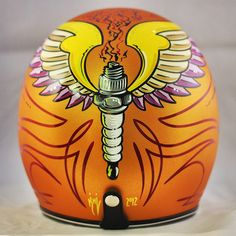 This is a beautiful New Biltwell novelty helmet that features stunning artwork and pin striping. This helmet is beautifully painted by hand and will n. Custom Paint Motorcycle, Custom Motorcycle Helmets, Custom Helmets, Motorcycle Art, Bike Art, Bobber Helmets, Pinstriping, Chopper, Pinstripe Art