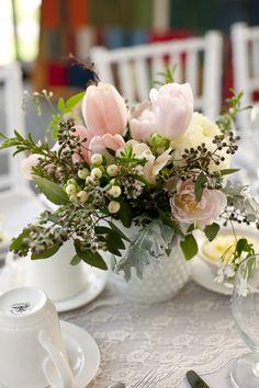 Spring flower arrangement. Great for a shower - brunch - tea or any time.