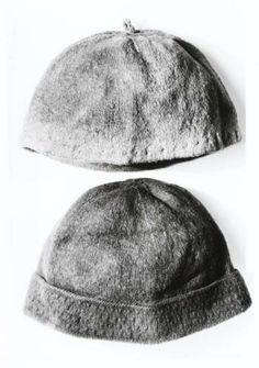 Light brown knitted cap, found at Gunnister, Shetland. Material:  Wool