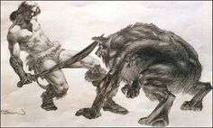 """Conan and the Werewolf"" Artist Bernie Wrightson. Bernie Wrightson, Conan Comics, Conan The Barbarian, Sword And Sorcery, Sci Fi Fantasy, Various Artists, Beast, Moose Art, Lion Sculpture"