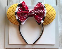 Mickey Mouse Inspired Vacation Ears , Head Wraps/Band, by BriarsPatches Mini Mouse Ears, Disney Minnie Mouse Ears, Diy Disney Ears, Disney Diy, Disney Crafts, Disney Bows, Disney Trips, Disney Parks, Disney Ears Headband
