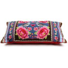 Birds Multi Flower Denim Embroidered Pillow ($83) via Polyvore