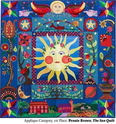 The Sun Quilt by Pennie Brown. 1st place, Applique Category. 2014 Northwest Quilting Expo.