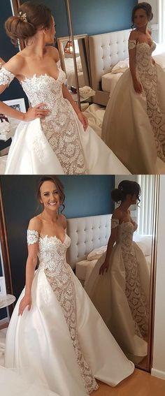 unique off the shoulder wedding dresses, glamorous lace sheath bridal gowns, princess short sleeves detachable wedding dresses #weddingdress