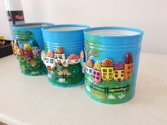 Konserve kutusundan saksı Tin Can Crafts, Jar Crafts, Cute Crafts, Decor Crafts, Diy And Crafts, Crafts For Kids, Recycled Tin Cans, Recycled Crafts, Stone Crafts