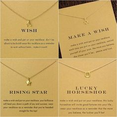 Top Quality Star / Heart / Wishbone Charm Girl Lucky Pendant Gold Filled Chain Choker Necklace Women Lover Best Gift,NO Card