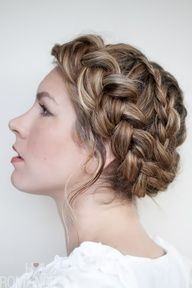 This braided hairstyle is a twist on the Valentino braids seen at their S/S Paris show. Instead of the French braid, Ive used a reverse braid, or Dutch braid.    With a French braid, hair is added over from each side as your plait the hair. Its the reverse with this style as the hair is added underneath.