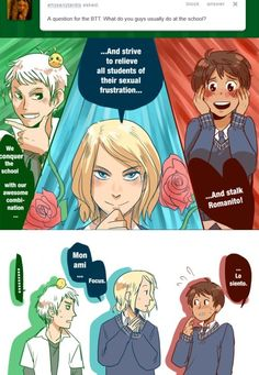 funny hetalia pictures | And to stalk romano! Ask the BTT - Bad Touch Trio --- France Spain ...