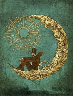 Gentleman having a rather splendid time on the moon (in a rather steampunk…