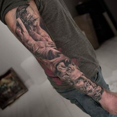 Black and grey Ancient Greek tattoo sleeve by Darwin Enriquez Forearm Tattoo Quotes, Arm Tattoos, Love Tattoos, Beautiful Tattoos, Black Tattoos, Tattos, Ancient Greek Tattoo, Goddess Tattoo, City Tattoo