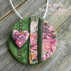 Pink, Green, Peach, Heart, Polymer Clay Pendant, Hand-Made, Unique Design