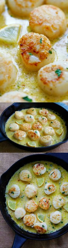 Creamy Garlic Scallops Easiest, Creamiest And Best Scallop Recipe Ever. Takes Only 15 Mins, Better Than Restaurants And Much Cheaper I Love Food, Good Food, Yummy Food, Tasty, Best Scallop Recipe, Comida Diy, Seafood Recipes, Cooking Recipes, Best Fish Recipes