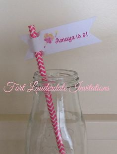girls princess party paper straw flags,  by Fort Lauderdale Invitations - Visit our etsy shop to order: www.milgrimdesigns.etsy.com ! pink princess, fairy party, straw flags, paper straws, paper straw flags Fort Lauderdale * Hollywood * Miami * Palm Beaches * We Ship Worldwide