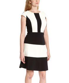 Another great find on #zulily! Cream & Black Stripe Block Cap-Sleeve Dress #zulilyfinds