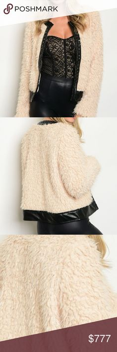 💋JUST ARRIVED💋 FAUX FUR/LEATHER JACKET! Brand New Boutique item Price is firm Bundle To Save!  OK where do I start!!? This faux fur jacket with edgy faux leather details is amazing!!! A MUST HAVE for your fall/winter collection! What a statement marker this jacket is!! Don't forget to grab this piece for your wardrobe!!! also available in black.  Material 100% polyester   winter warm fall chic furry fuzzy faux sleep fur long sleeved coat / jacket cream black MODA Jackets & Coats