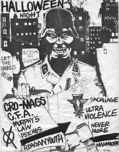 Cro-Mags, CFA, Murphy's Law, Reagan Youth punk hardcore flyer