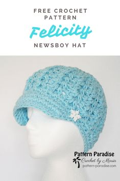 Free crochet pattern for Felicity Newsboy Hat in sizes from toddler to adult on Pattern-Paradise.com #crochet #patternparadisecrochet #hat #newsboyhat