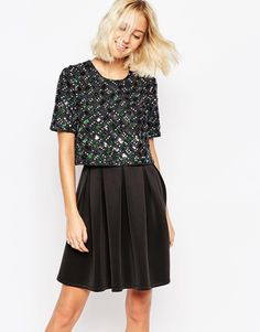 Browse online for the newest ASOS Candy Embellished T-Shirt Crop Top Scuba Skater Dress styles. Shop easier with ASOS' multiple payments and return options (Ts&Cs apply). Black Sequin Dress, Glitter Dress, Navy Dress, T Shirt Crop Top, Crop Tops, Tall Dresses, Short Dresses, Skater Style Dress, Asos