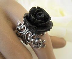 Goth Black Rose Skull Ring- Antique Silver Adjustable Ring- Skull Candy on Etsy, $15.00