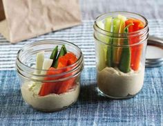 Dips are an easy way to jazz up raw vegetables and make your afternoon snack a little more substantial. And the easiest way to make veggies and dip an on-the-go snack? Pack them together in a jar! Vegan Healthy Snacks, Veggie Snacks, Healthy Afternoon Snacks, High Protein Snacks, Healthy Eating, Healthy Recipes, Clean Eating, Snack Recipes, Mason Jar Meals