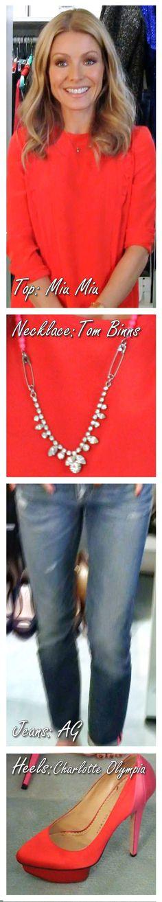 Kelly Ripa: Miu Miu top, Charlotte Olympia shoes, Tom Binns necklace, AG Jeans.