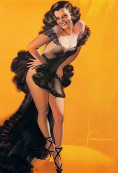 "Rolf Armstrong    I like the sassy and happy attitude portrayed by this lovely lady. The painting is known by the titled ""Encore"", which I suspect is related to her dress."