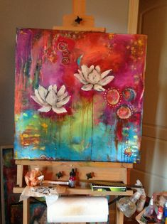 Artwork by Darla Catalano … beautiful colors Dripping watercolor and acrylic with white flowers Abstract Canvas Art, Painting Canvas, Acrylic Artwork, Diy Artwork, Acrylic Canvas, Lotus Painting, Illustration Photo, Lotus Art, Inspirational Artwork