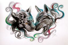 Jaguar and Wolf Design by Lucky978 (print image)