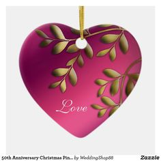 50th Anniversary Christmas Pink Purple Gold Ceramic Ornament All That Matters, Love Is All, Pink Christmas, Christmas Ornaments, Heart Ornament, Purple Gold, 50th Anniversary, White Porcelain, Ceramics