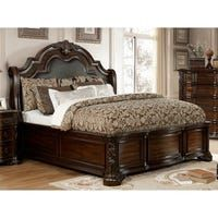 Darlington Traditional Brown Cherry Sleigh Bed by FOA (California King), Furniture of America King Platform Bed, Upholstered Platform Bed, Tufted Bed, Cherry Sleigh Bed, Bedroom Furniture, Bedroom Decor, King Furniture, Furniture Market, Furniture Deals