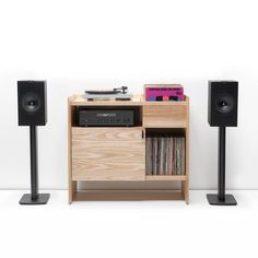 """Unison 38"""" Record Stand – SYMBOL audio Turntable Setup, Record Stand, Record Storage, Solid Wood Furniture, Magazine Rack, Audio, Cabinet, Living Room, Bedroom"""