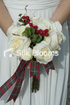 MacGregor Tartan Ivory Rose & Red Berry Luxury Bridal Bouquet