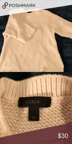 J crew sweater White knit sweater. Lightly worn. Great for a late night stroll on the beach, perhaps? You know, when the time comes. Needs a shirt underneath-looks great with a chambray or other collared shirt. J. Crew Sweaters Shrugs & Ponchos