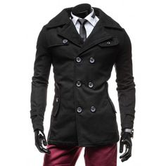 Elegantní černý pánský kabát - manozo.cz Nike, Coat, Jackets, Fashion, Down Jackets, Moda, Sewing Coat, Fashion Styles, Peacoats