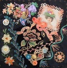 peach on black crazy quilt block